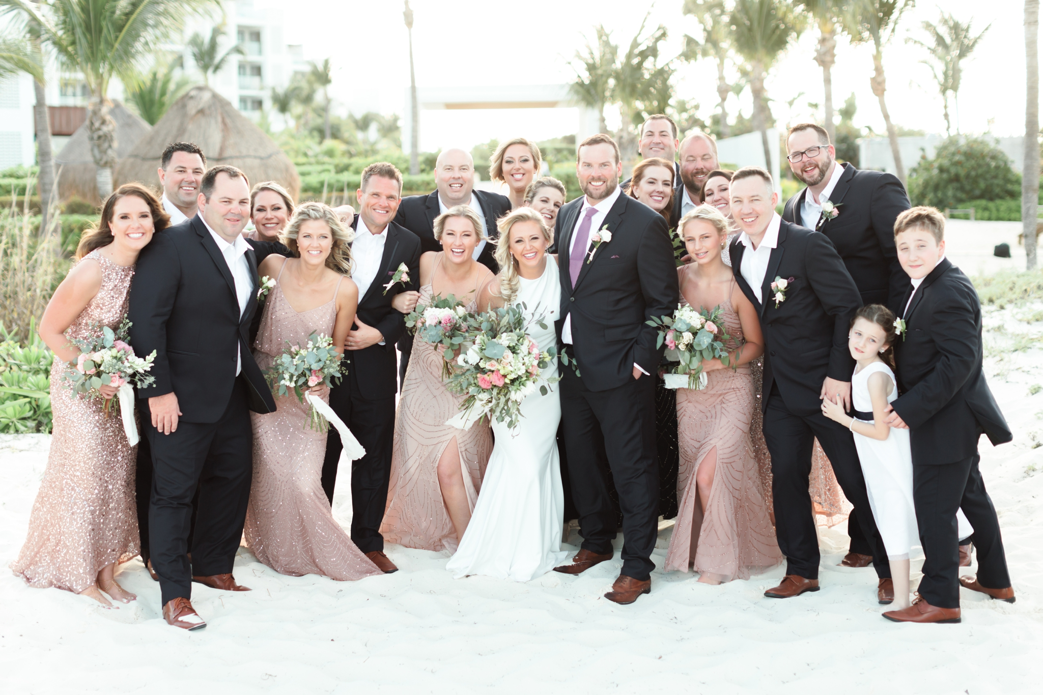 Bridal Party picture at the beach for Finest Playa Mujeres Wedding