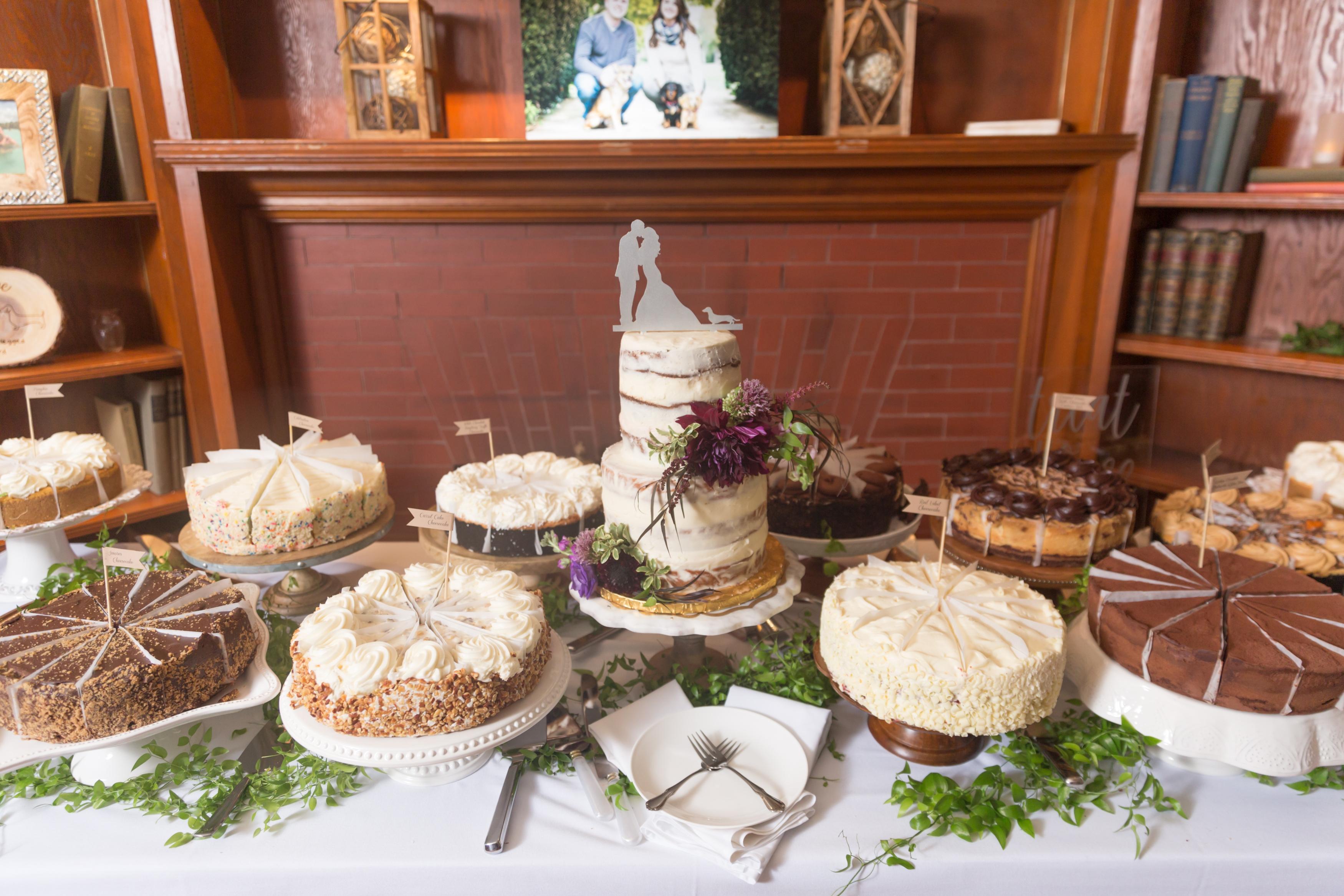 Cake table filled with cheesecake bar at Cincinnati Wedding of Ellie Reynolds and Matt Clyburn