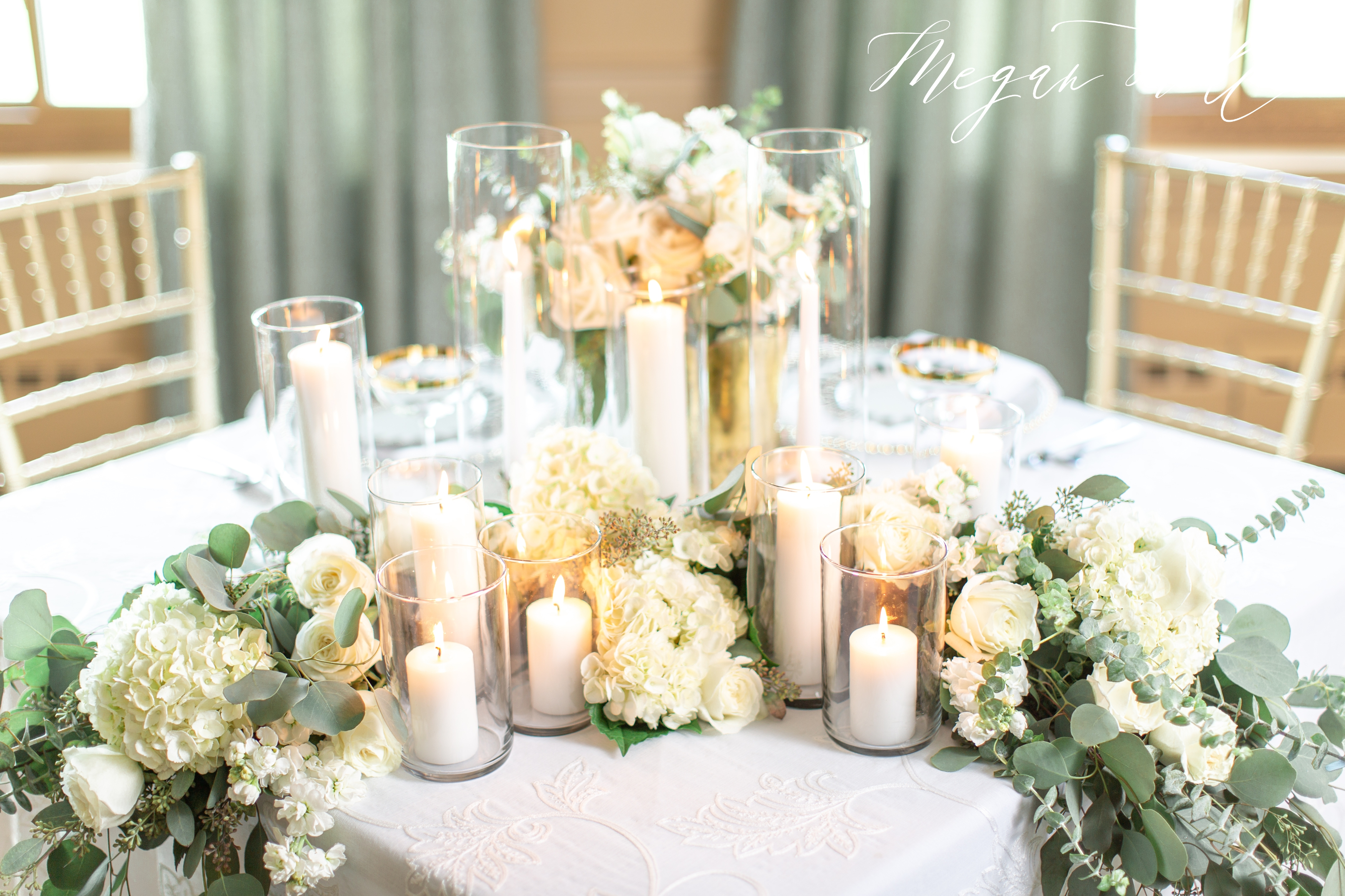 Reception decor at a Fort Mitchell Country Club Wedding