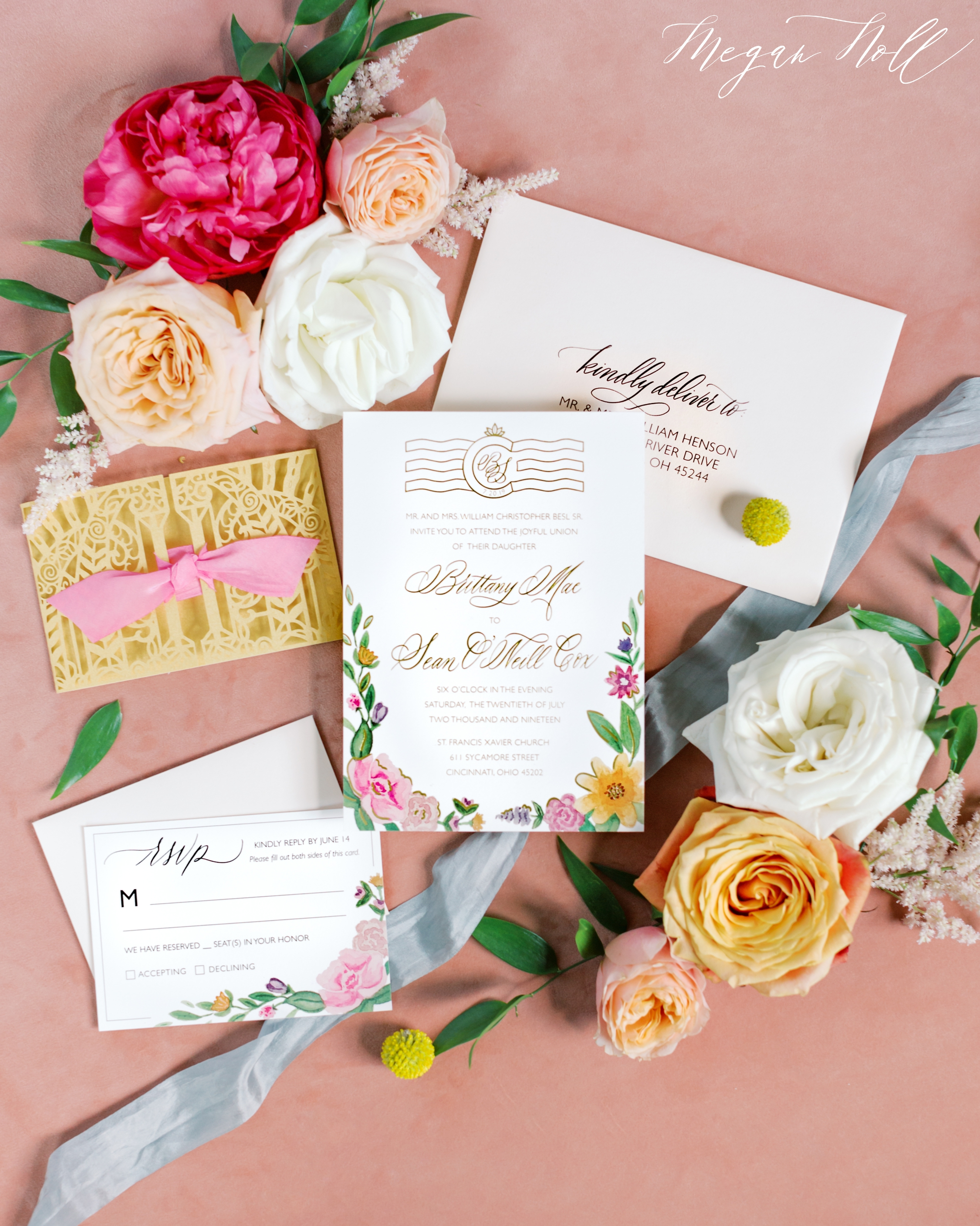 ElisaAnne Calligraphy designed pink and gold wedding invitations