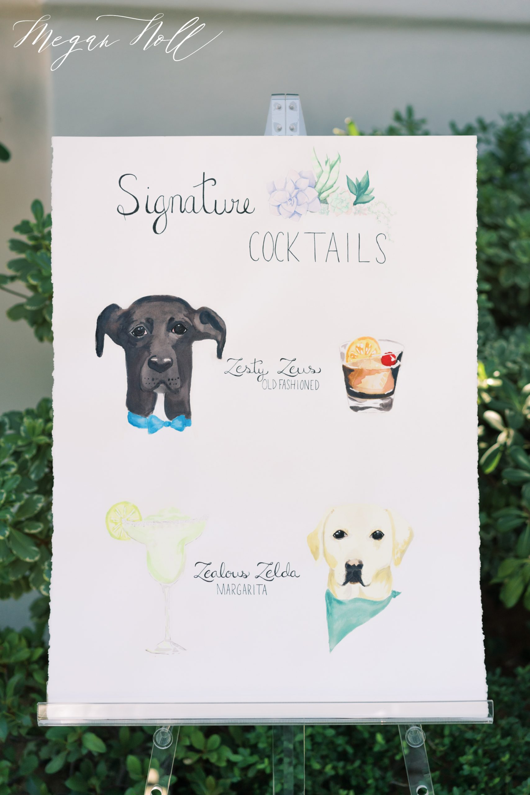 Couple uses dogs as inspiration for signature cocktails for El Chorro Wedding
