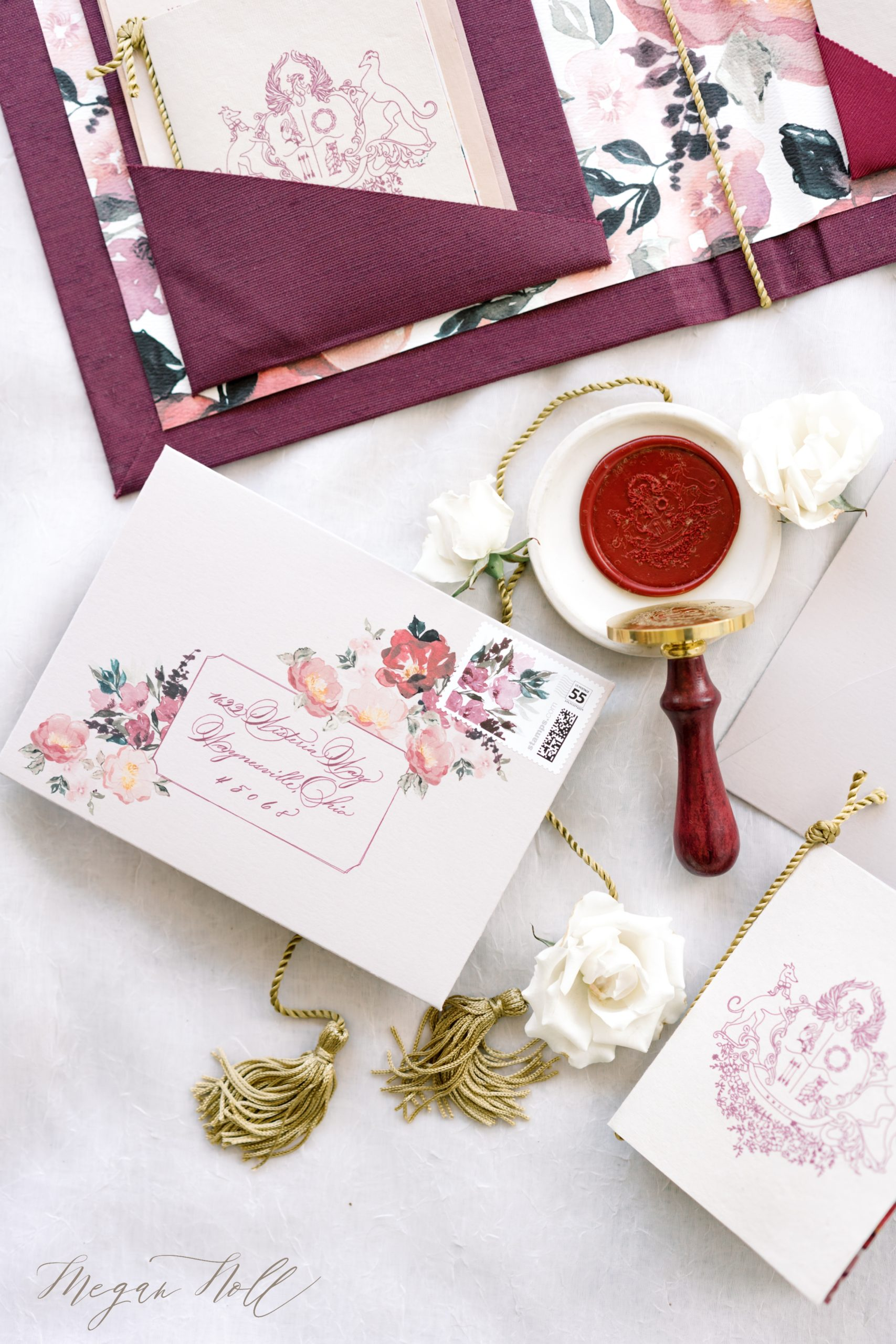 Wax seal and invitations styled by Samantha Joy Events for Wedding At The Mount