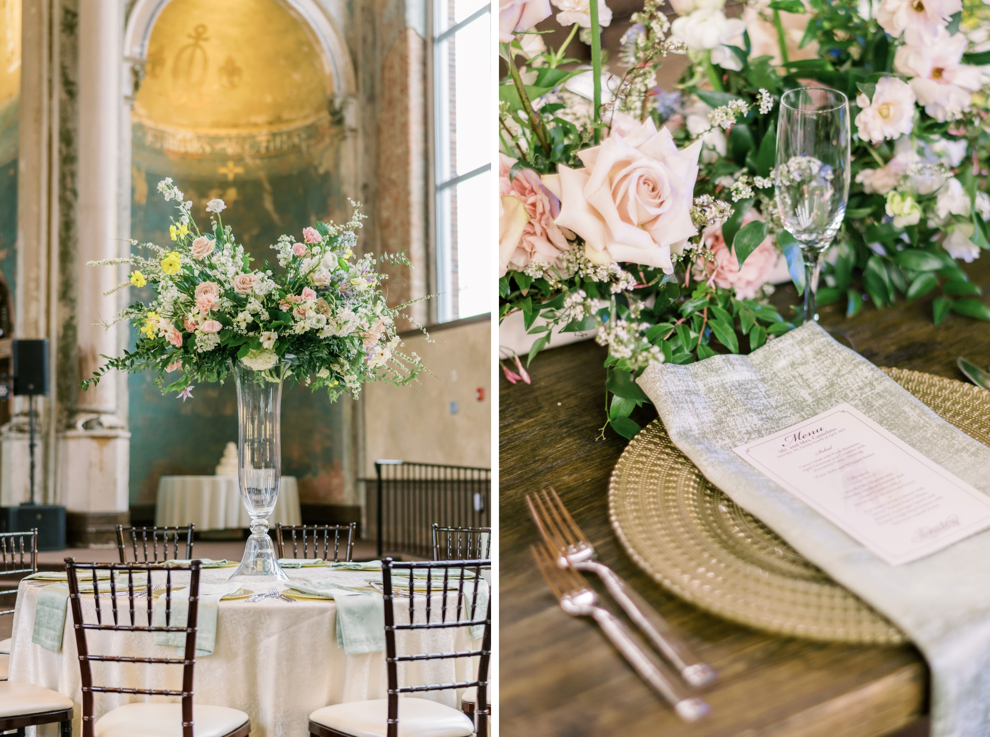 Place setting at wedding featuring a gold charger, menu card and floral centerpiece